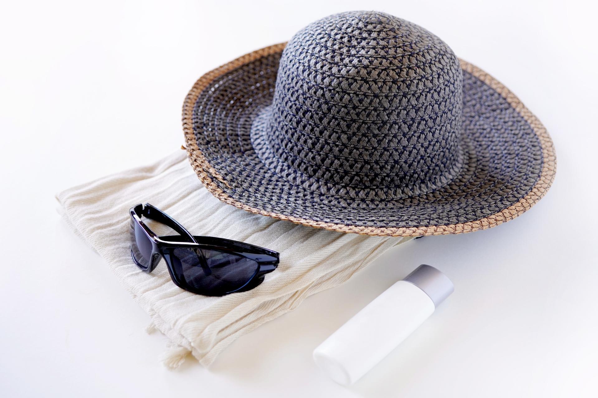 紫外線対策、ストールと帽子