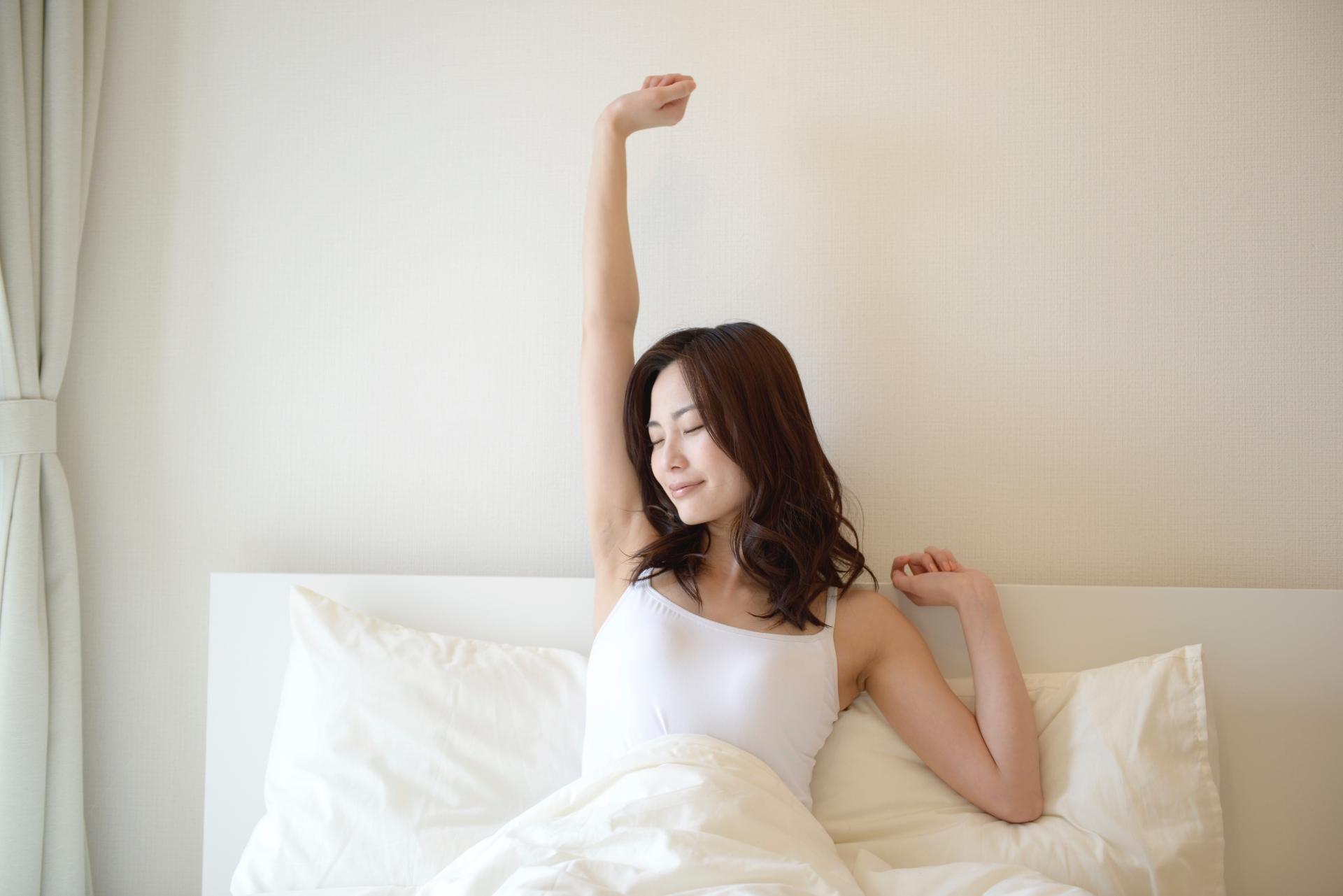 寝起きスッキリの女性
