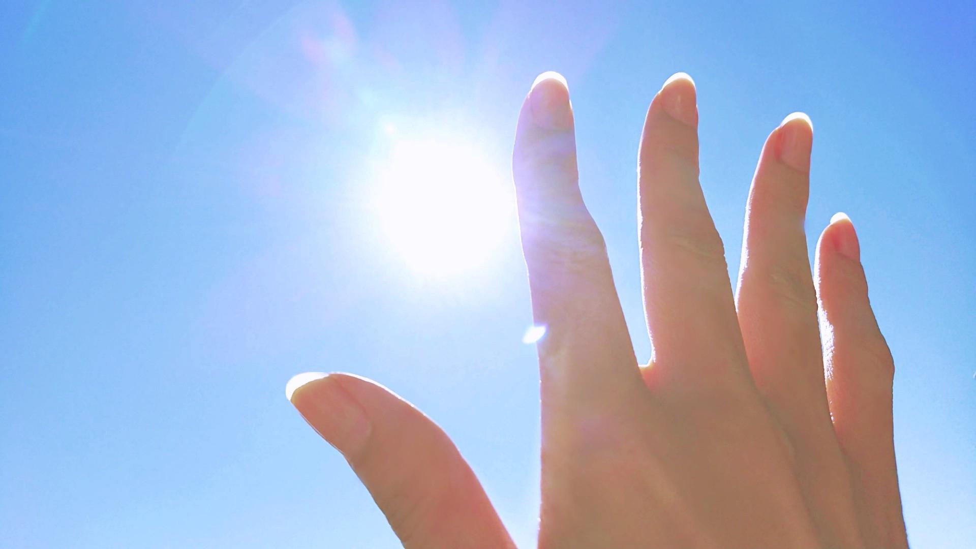 手のひらを太陽にかざす
