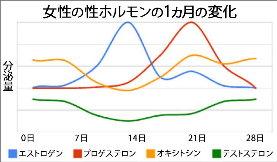 女性の性ホルモンの1ヵ月の変化グラフ